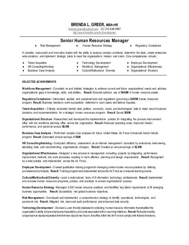 Sample Resume Senior Human Resources Manager - HR Manager