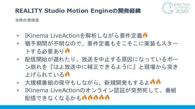 • IKinema LiveActionを解析しながら要件定義🔥 • 猶予期間が不明なので、要件定義もそこそこに実装もスター トする必要あり🔥 • 配信開始が遅れたり、放送を中止する原因になっているボー ン崩れを『はよ放送中に補正できるように』...
