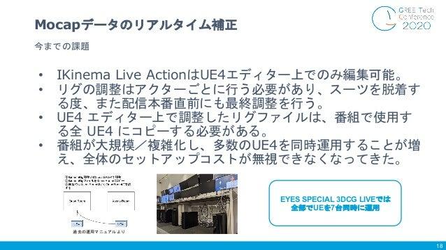 • IKinema Live ActionはUE4エディター上でのみ編集可能。 • リグの調整はアクターごとに行う必要があり、スーツを脱着す る度、また配信本番直前にも最終調整を行う。 • UE4 エディター上で調整したリグファイルは、番組で使...