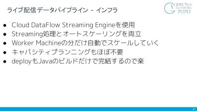 27 ライブ配信データパイプライン - インフラ ● Cloud DataFlow Streaming Engineを使用 ● Streaming処理とオートスケーリングを両立 ● Worker Machineの分だけ自動でスケールしていく ●...