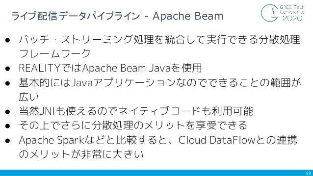 29 ライブ配信データパイプライン - Apache Beam ● バッチ・ストリーミング処理を統合して実行できる分散処理 フレームワーク ● REALITYではApache Beam Javaを使用 ● 基本的にはJavaアプリケーションなの...