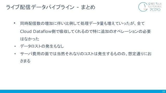 33 ライブ配信データパイプライン - まとめ • 同時配信数の増加に伴い比例して処理データ量も増えていったが、全て Cloud Dataflow側で吸収してくれるので特に追加のオペレーションの必要 はなかった • データロストの発生もなし •...