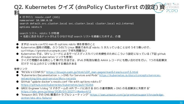 """32 Q2. Kubernetes クイズ (dnsPolicy ClusterFirst の設定) 資 料 参考リンク ● """"RESOLV.CONF(5)"""" https://linuxjm.osdn.jp/html/LDP_man-pages..."""