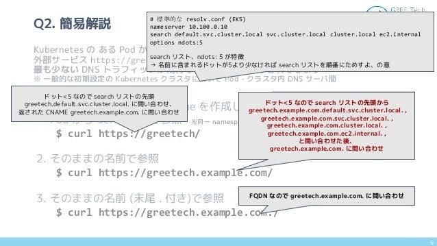 1. Service type: ExternalName を作成し Pod から Service 名で参照 $ curl https://greetech/ 2. そのままの名前で参照 $ curl https://greetech.exam...