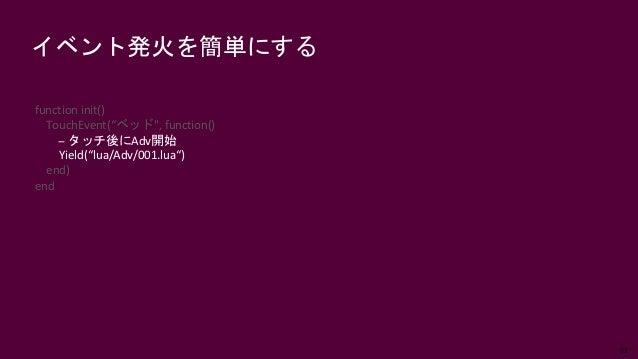 """62 イベント発火を簡単にする function init() TouchEvent(""""ベッド"""", function() -- タッチ後にAdv開始 Yield(""""lua/Adv/001.lua"""") end) end"""