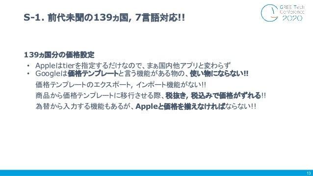 139ヵ国分の価格設定 • Appleはtierを指定するだけなので、まぁ国内他アプリと変わらず • Googleは価格テンプレートと言う機能がある物の、使い物にならない!! 価格テンプレートのエクスポート, インポート機能がない!! 商品から...