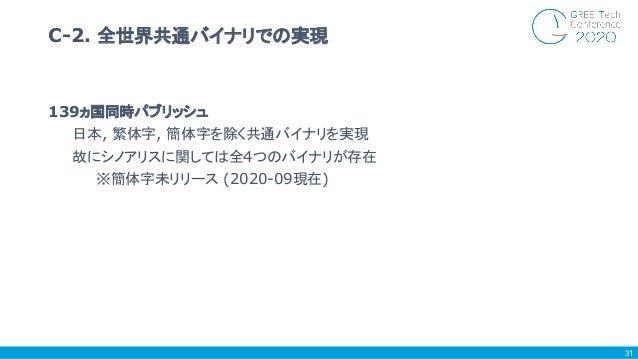 139ヵ国同時パブリッシュ 日本, 繁体字, 簡体字を除く共通バイナリを実現 故にシノアリスに関しては全4つのバイナリが存在 ※簡体字未リリース (2020-09現在) C-2. 全世界共通バイナリでの実現 31