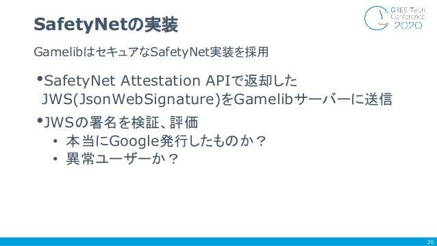•SafetyNet Attestation APIで返却した JWS(JsonWebSignature)をGamelibサーバーに送信 •JWSの署名を検証、評価 • 本当にGoogle発行したものか? • 異常ユーザーか? Gamelibは...