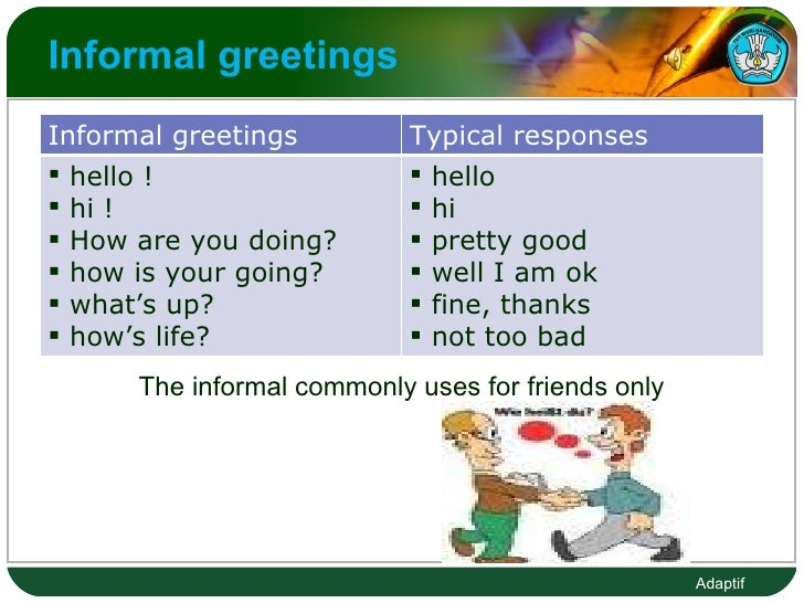 Informal greetings  The informal commonly uses for friends only  Informal greetings  Typical responses  <ul><li>hello ! </...
