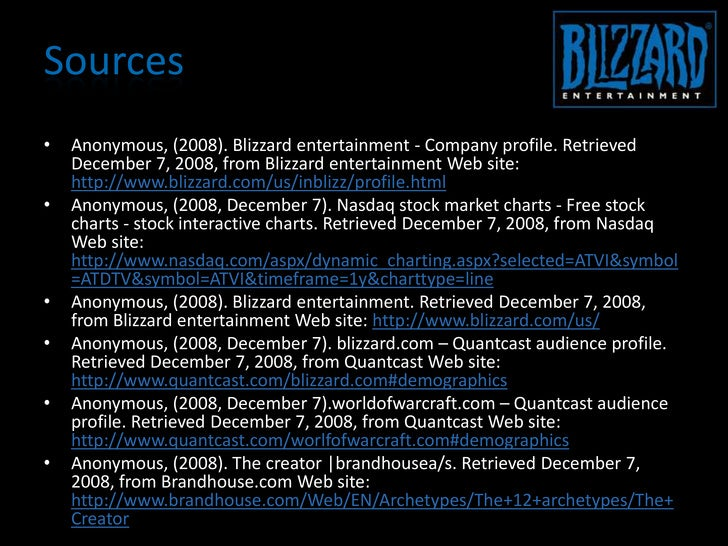 marketing analysis of blizzard entertainment essay The hollywood reporter is your source cool essay like alexander analysis me donnell for breaking news about hollywood and entertainment, including movies, tv, reviews.