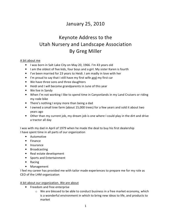 January 25, 2010                       Keynote Address to the               Utah Nursery and Landscape Association        ...