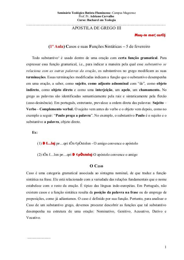 Seminário Teológico Batista Fluminense- Campus Mageense Prof. Pr. Adriano Carvalho Curso: Bacharel em Teologia ___________...