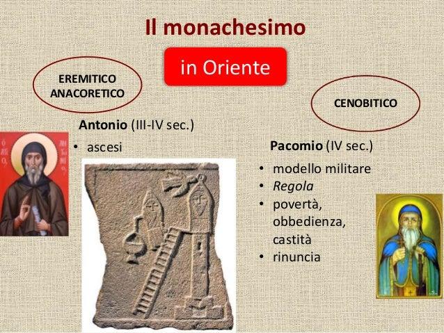 Il monachesimo in OrienteEREMITICO ANACORETICO CENOBITICO Antonio (III-IV sec.) Pacomio (IV sec.)• ascesi • modello milita...
