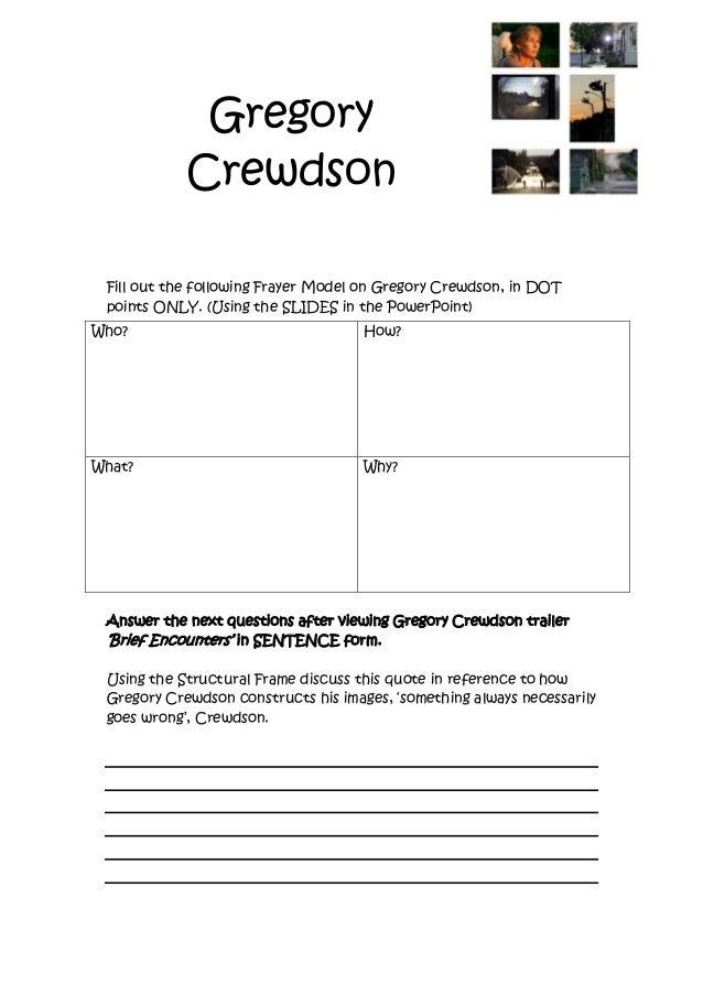 Gregory crewdson worksheet – Frame of Reference Worksheet
