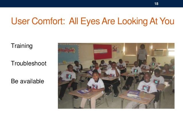 User Comfort: All Eyes Are Looking At You Training Troubleshoot Be available 18