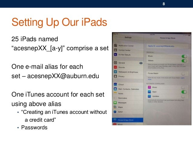 """Setting Up Our iPads 25 iPads named """"acesnepXX_[a-y]"""" comprise a set One e-mail alias for each set – acesnepXX@auburn.edu ..."""