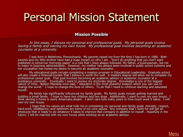 greg reeder portfolio  menu 9 personal mission statement