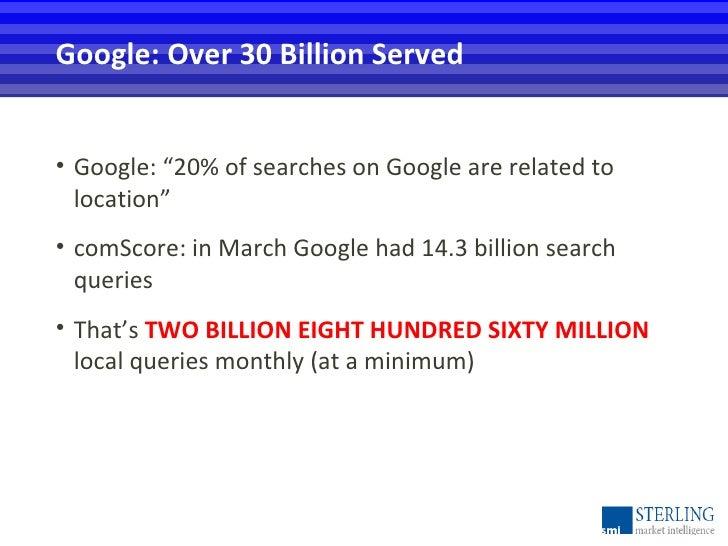 "<ul><li>Google: ""20% of searches on Google are related to location"" </li></ul><ul><li>comScore: in March Google had 14.3 b..."