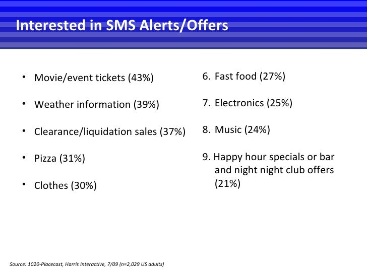 <ul><li>Movie/event tickets (43%) </li></ul><ul><li>Weather information (39%) </li></ul><ul><li>Clearance/liquidation sale...