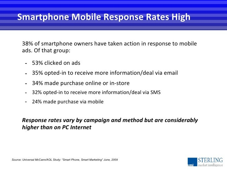<ul><li>38% of smartphone owners have taken action in response to mobile ads. Of that group: </li></ul><ul><ul><li>53% cli...