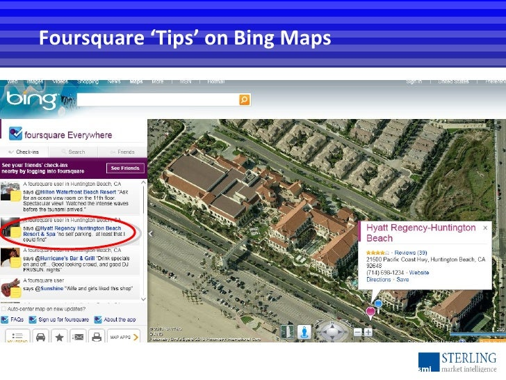 Foursquare 'Tips' on Bing Maps