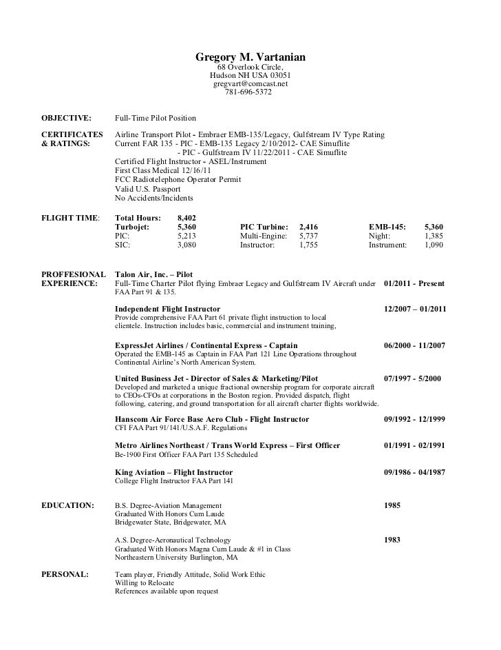 Marvelous Greg Vartanian Pilot Resume 2 12 Within Airline Pilot Resume