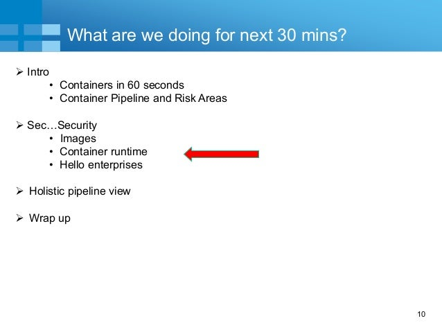 10 What are we doing for next 30 mins?  Intro • Containers in 60 seconds • Container Pipeline and Risk Areas  Sec…Securi...