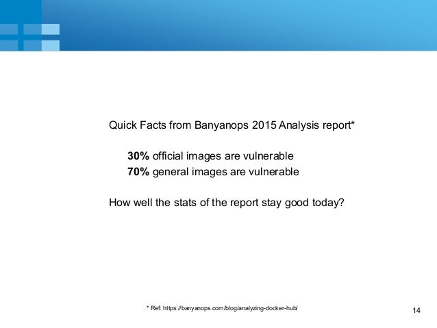 14 Quick Facts from Banyanops 2015 Analysis report* 30% official images are vulnerable 70% general images are vulnerable H...