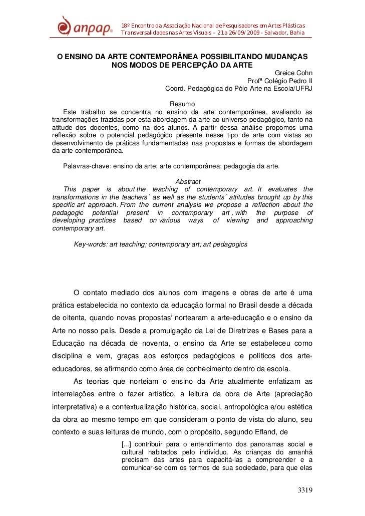 18º Encontro da Associação Nacional de Pesquisadores em Artes Plásticas                      Transversalidades nas Artes V...