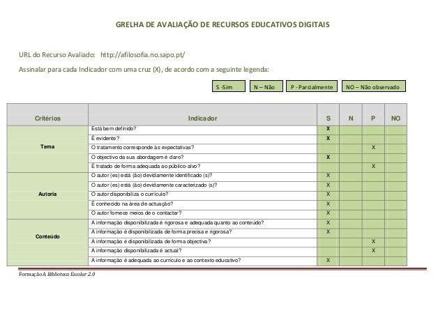 Formação A Biblioteca Escolar 2.0GRELHA DE AVALIAÇÃO DE RECURSOS EDUCATIVOS DIGITAISURL do Recurso Avaliado: http://afilos...