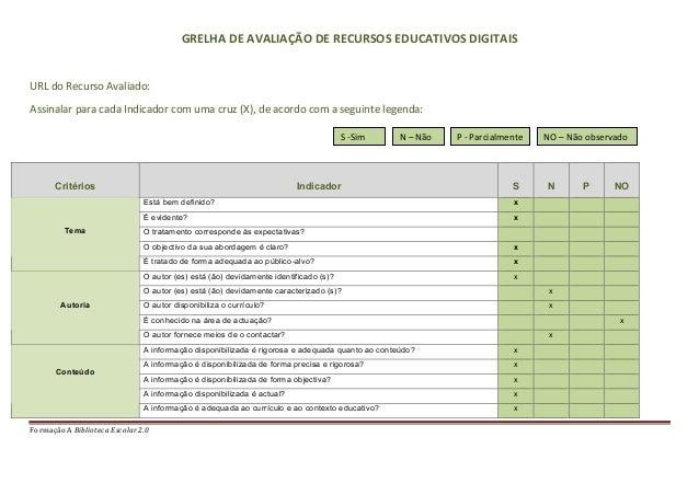 GRELHA DE AVALIAÇÃO DE RECURSOS EDUCATIVOS DIGITAIS  URL do Recurso Avaliado: Assinalar para c...