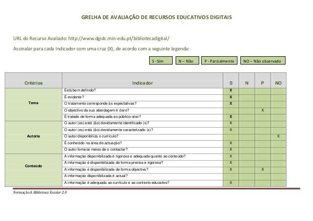 Formação A Biblioteca Escolar 2.0GRELHA DE AVALIAÇÃO DE RECURSOS EDUCATIVOS DIGITAISURL do Recurso Avaliado: http://www.dg...