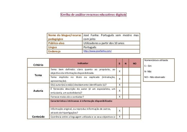 Grelha de análise recursos educativos digitais           Nome do blogue/recurso         José Fanha: Português sem mestre m...