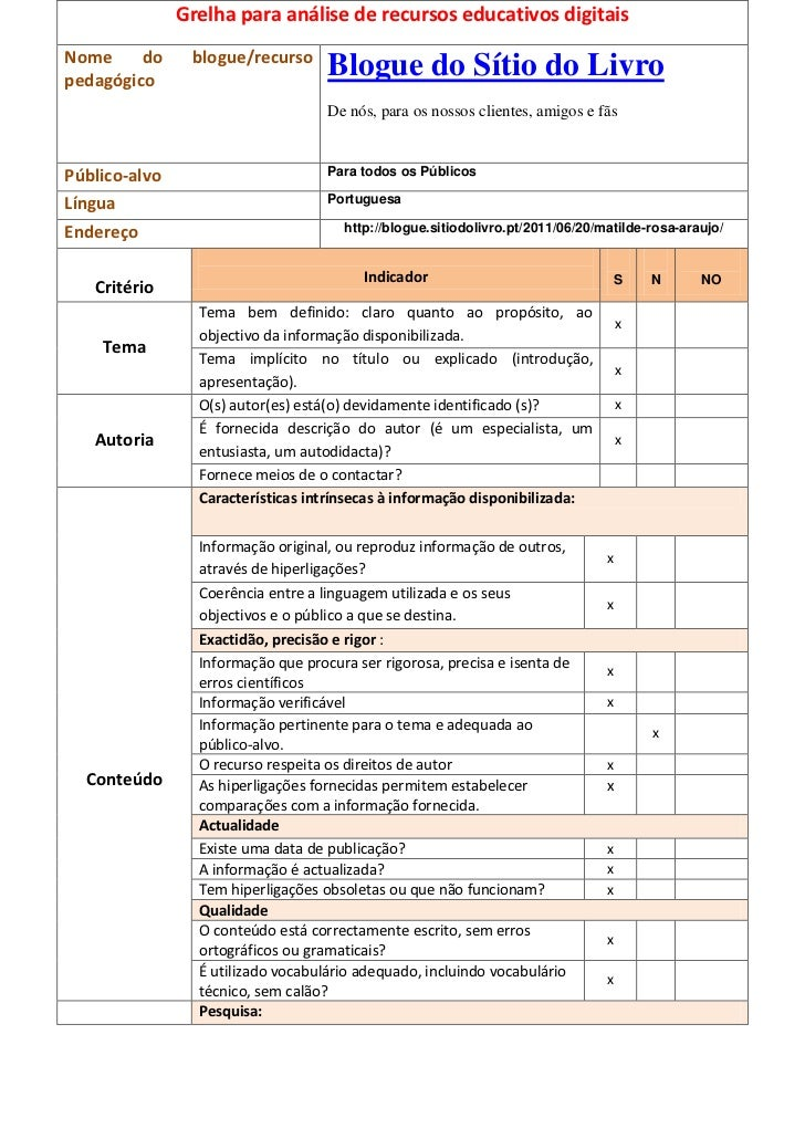 Grelha para análise de recursos educativos digitaisNome     do     blogue/recursopedagógico                               ...