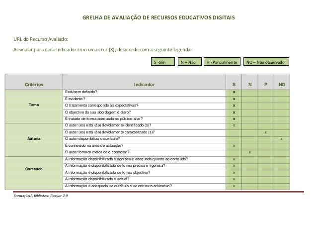 Formação A Biblioteca Escolar 2.0GRELHA DE AVALIAÇÃO DE RECURSOS EDUCATIVOS DIGITAISURL do Recurso Avaliado:Assinalar para...