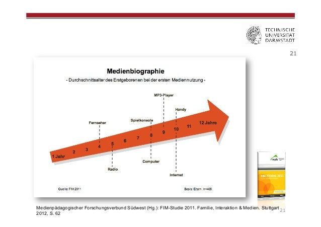 21  Medienpädagogischer Forschungsverbund Südwest (Hg.): FIM-Studie 2011. Familie, Interaktion & Medien. Stuttgart 21 2012...