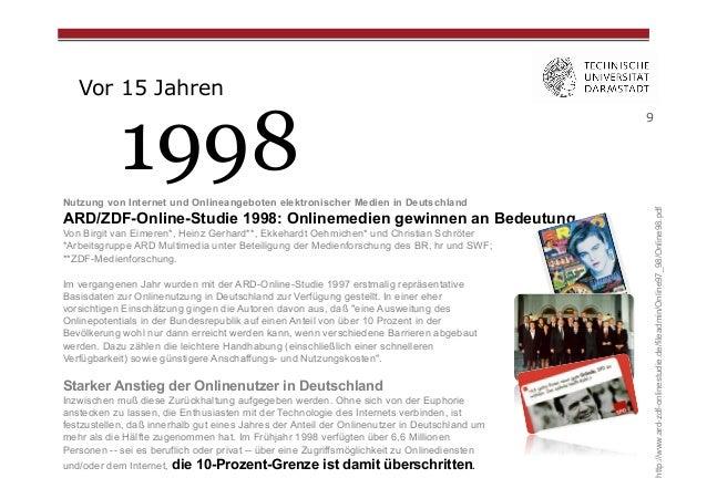 Vor 15 Jahren  Nutzung von Internet und Onlineangeboten elektronischer Medien in Deutschland  ARD/ZDF-Online-Studie 1998: ...