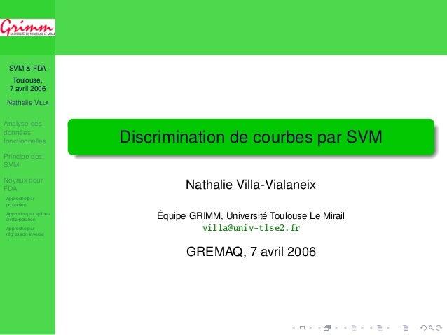 SVM & FDA Toulouse, 7 avril 2006 Nathalie V Analyse des données fonctionnelles Principe des SVM Noyaux pour FDA Approc...