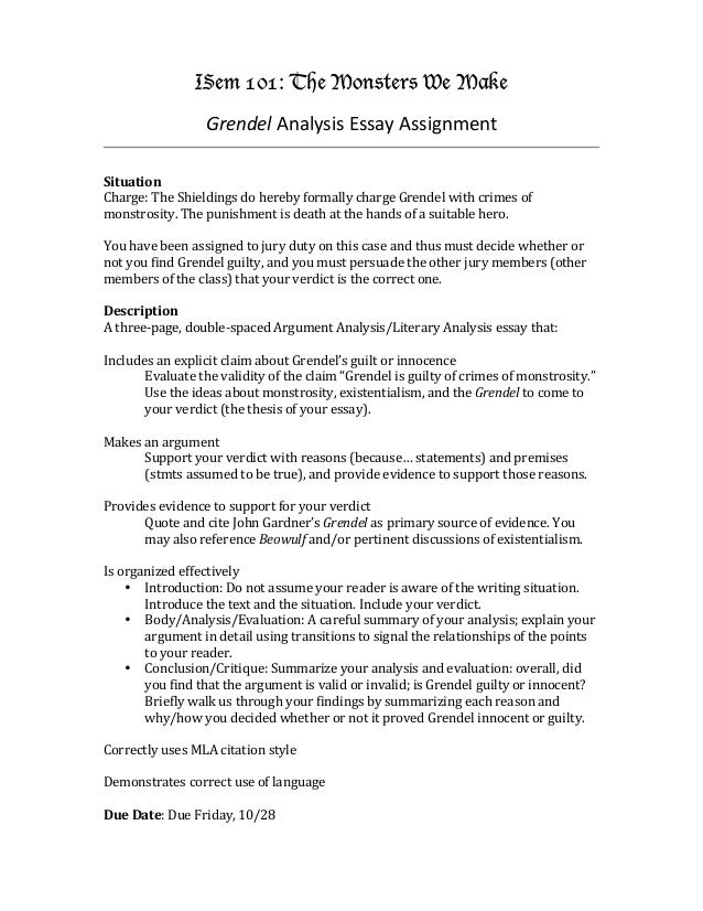 grendel analysis essay assignment isem 101 the monsters we make grendel analysis essay assignment