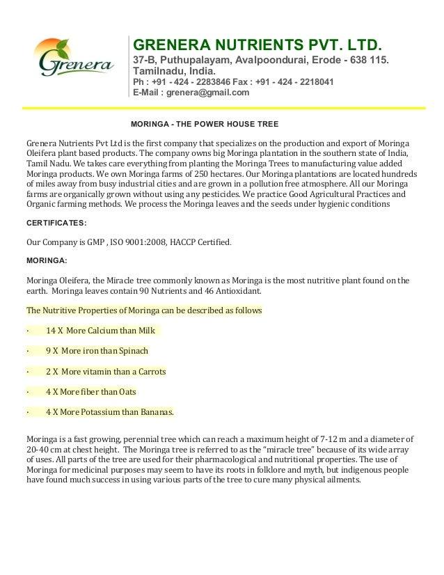 GRENERA NUTRIENTS PVT. LTD. 37-B, Puthupalayam, Avalpoondurai, Erode - 638 115. Tamilnadu, India. Ph : +91 - 424 - 2283846...