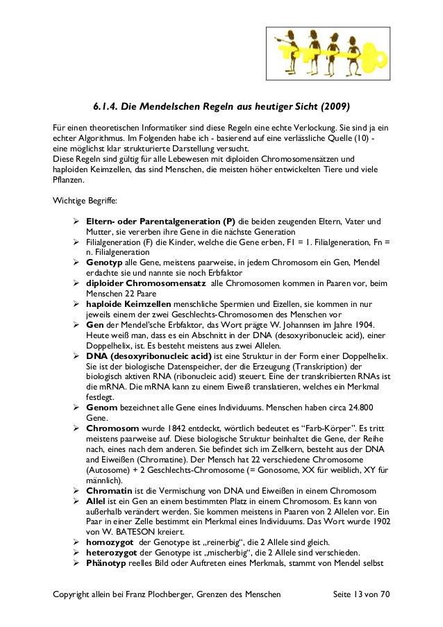 Copyright allein bei Franz Plochberger, Grenzen des Menschen Seite 13 von 70 6.1.4. Die Mendelschen Regeln aus heutiger Si...