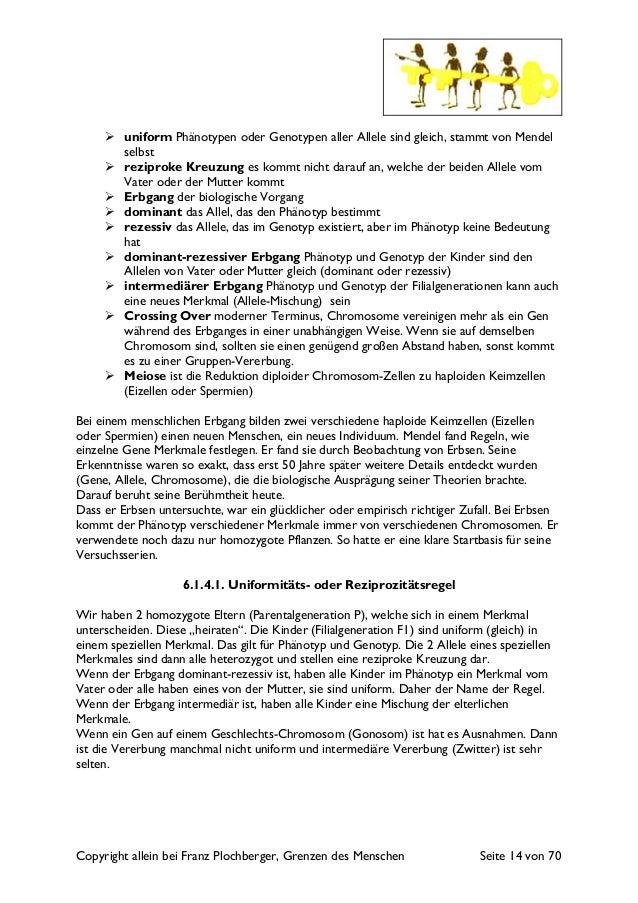 Copyright allein bei Franz Plochberger, Grenzen des Menschen Seite 14 von 70 uniform Phänotypen oder Genotypen aller Allel...