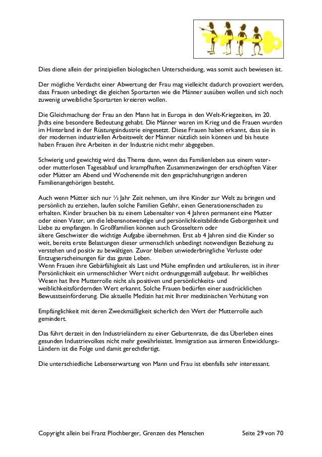 Copyright allein bei Franz Plochberger, Grenzen des Menschen Seite 29 von 70 Dies diene allein der prinzipiellen biologisc...