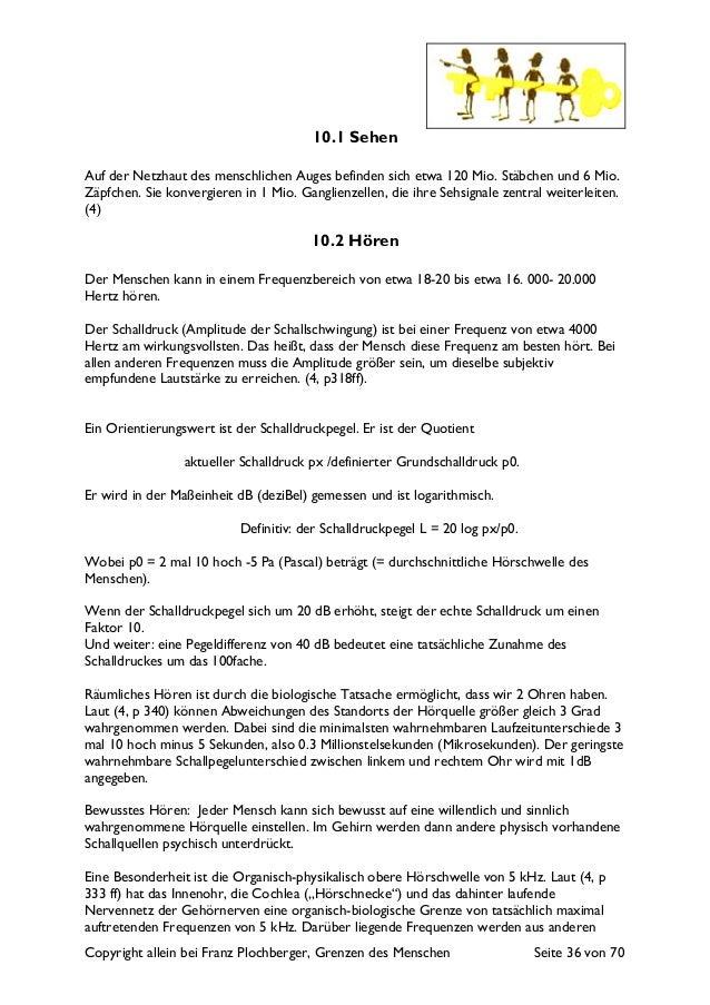 Copyright allein bei Franz Plochberger, Grenzen des Menschen Seite 36 von 70 10.1 Sehen Auf der Netzhaut des menschlichen ...