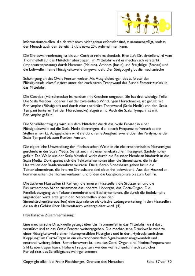 Copyright allein bei Franz Plochberger, Grenzen des Menschen Seite 37 von 70 Informationsquellen, die derzeit noch nicht g...
