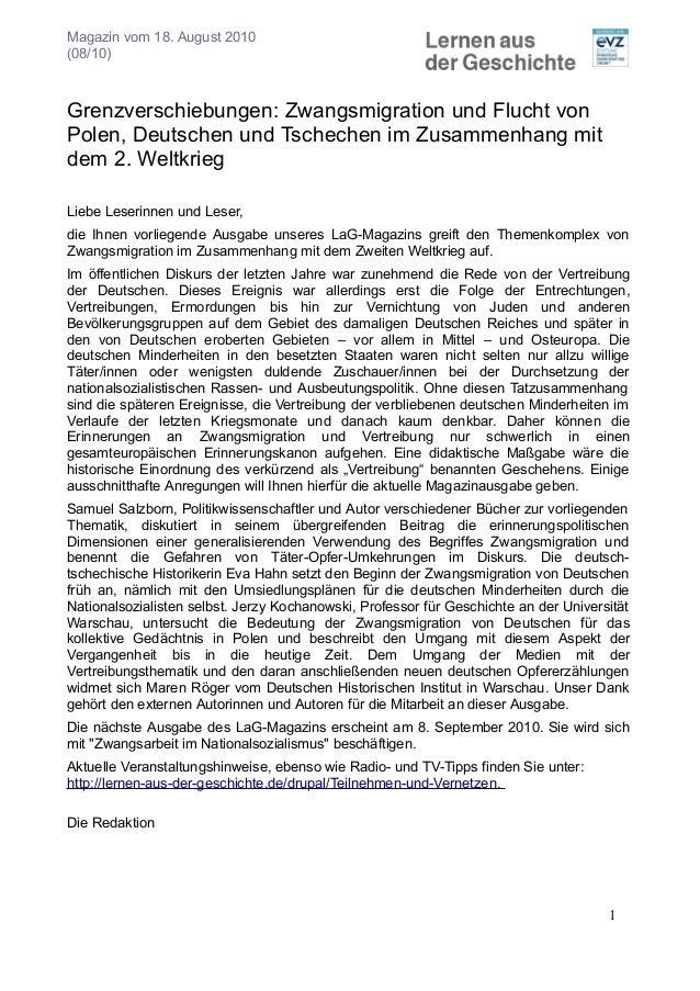 Magazin vom 18. August 2010 (08/10) Grenzverschiebungen: Zwangsmigration und Flucht von Polen, Deutschen und Tschechen im ...