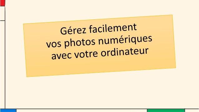Cinq points • 1 - Je visionne les photos sur mon ordinateur • 2 - Je range mes photos ( trier, classer, nommer) • 3 - Je c...
