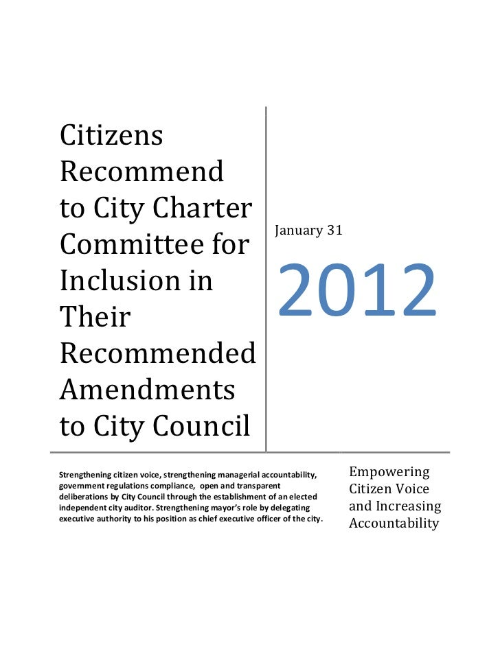 CitizensRecommendto City Charter                                                             January 31Committee forInclus...