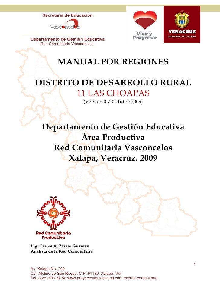 Secretaría de Educación     Departamento de Gestión Educativa      Red Comunitaria Vasconcelos                  MANUAL POR...