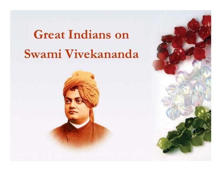 Great Indians onSwami Vivekananda
